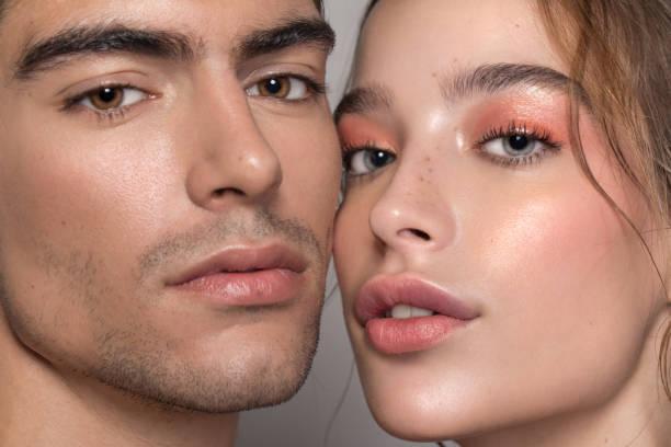 skönhet par - kvinna ansikte glow bildbanksfoton och bilder