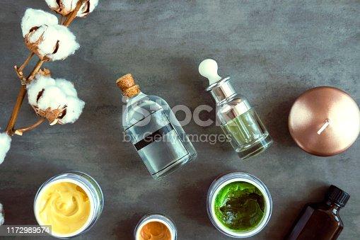 istock SPA beauty creams and oils on dark table 1172989574