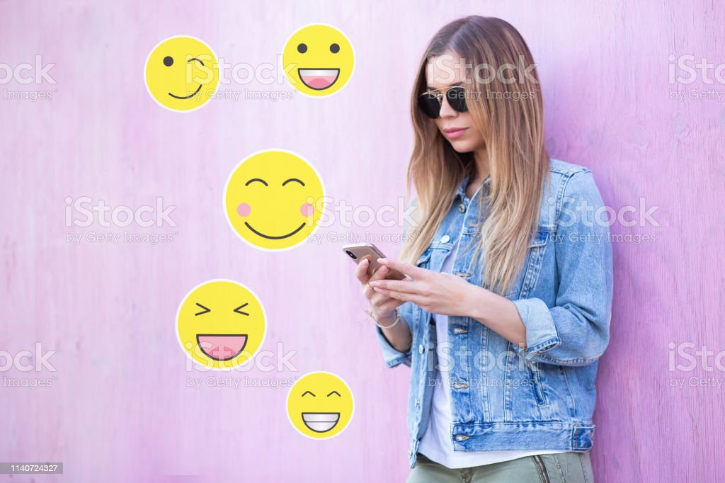Beauty Cute Fashionable Young Adult Girl Influencer Typing On