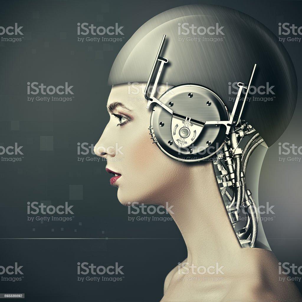 Beauty cyborg woman portrait - Foto de stock de Abstracto libre de derechos