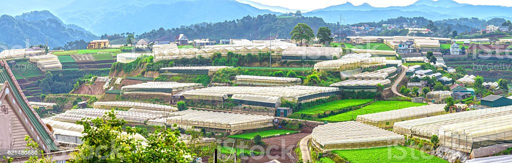 Beauty Da lat highland homes interspersed stock photo