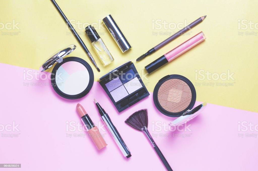 Beauty, decorative cosmetics. Makeup brushes set royalty-free stock photo