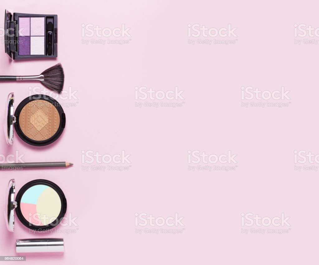 Beauty, decorative cosmetics. Makeup brushes set royalty-free stock photo