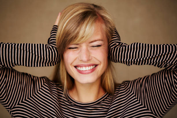 beauty enjoying silence - covering ears stock photos and pictures