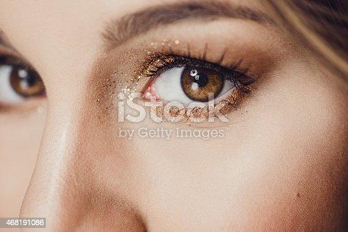 Beauty eye close up with glitter Short dof