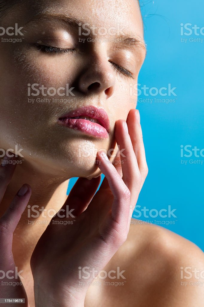 Beauty face cowered with water drops stock photo