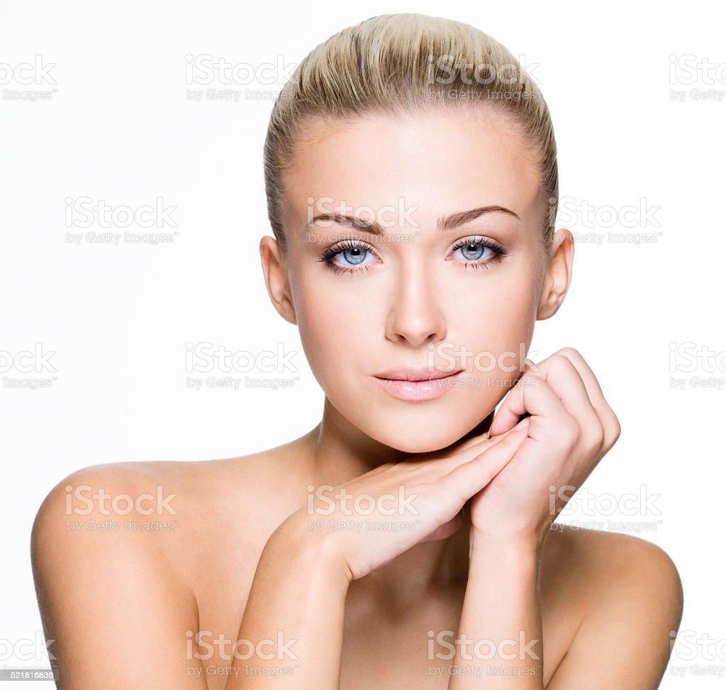 Schönheit Gesicht des Schöne junge Frau-isoliert – Foto