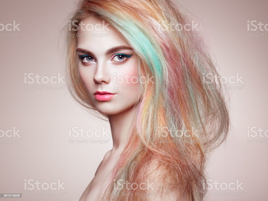 Beauty Fashion Model Girl With Colorful Dyed Hair Stock Photo More