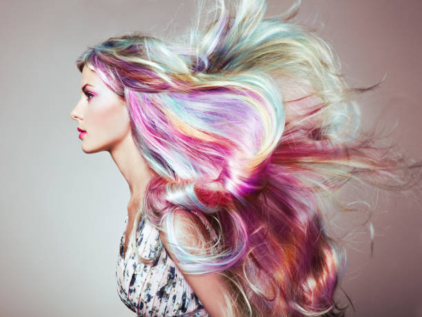 beauty fashion model girl with colorful dyed hair - hairstyle stock photos and pictures