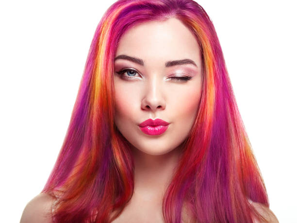 schoonheid fashion model meisje met kleurrijke geverfd haar - gekleurd haar stockfoto's en -beelden