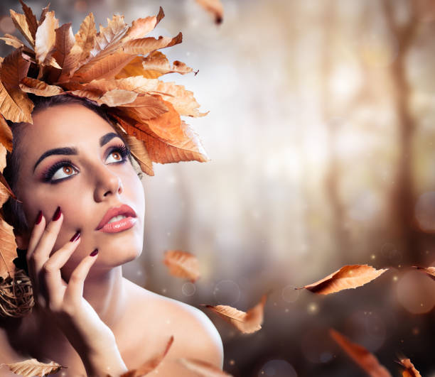 Beauty Fashion Model In Fall Forest stock photo