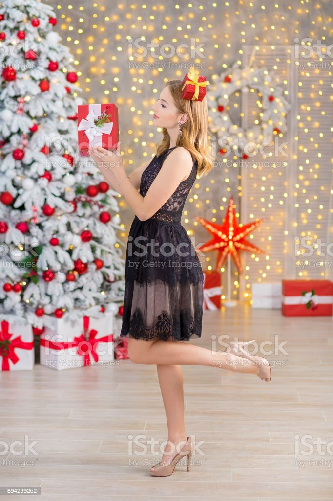 beauty fashion woman christmas background new year tree vogue style sexy girl gorgeous female