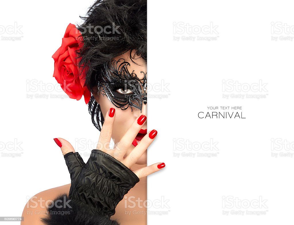 Beauty Fashion Woman with Elegant Mask. Carnival Concept stock photo