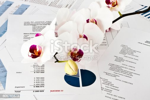Business financial analise and orchid flowers