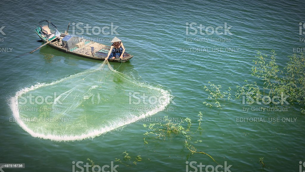 Beauty fishermen toss their nets on the river stock photo