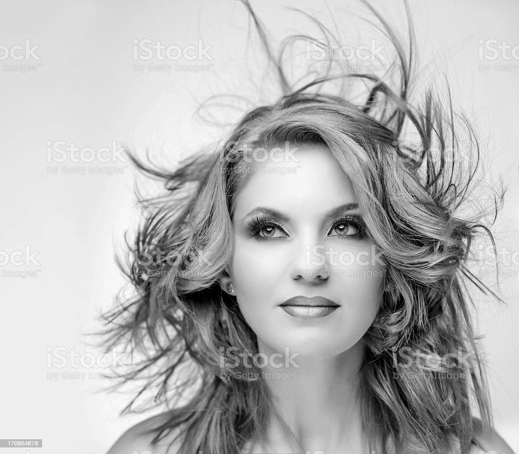 beauty flying hair stock photo