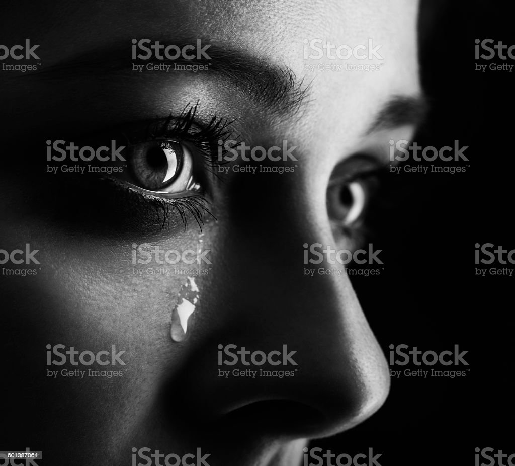 beauty girl cry stock photo