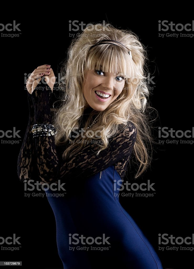 beauty girl in lace costume smile and look at you royalty-free stock photo