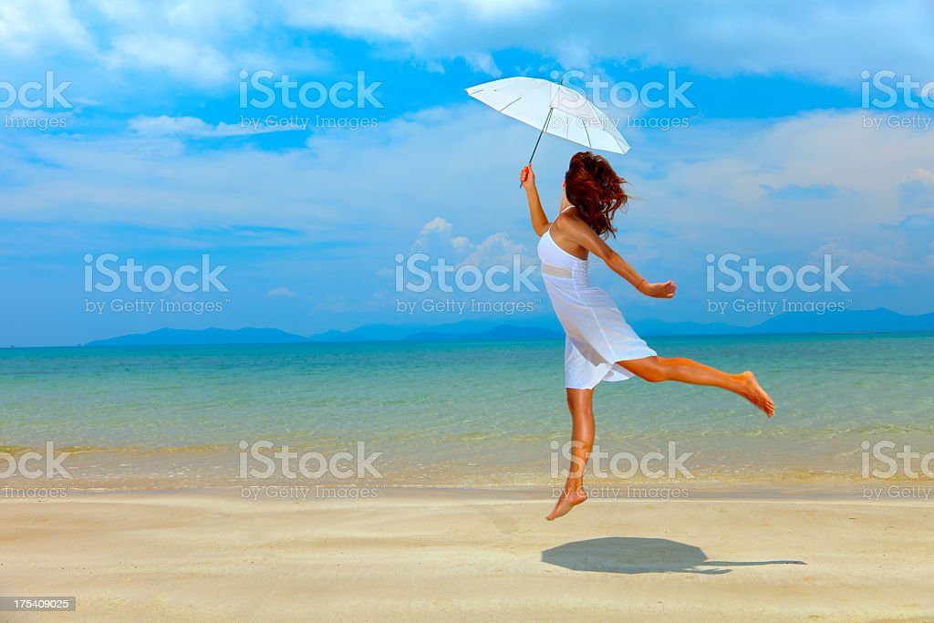 beauty girl in white dress on sea background royalty-free stock photo