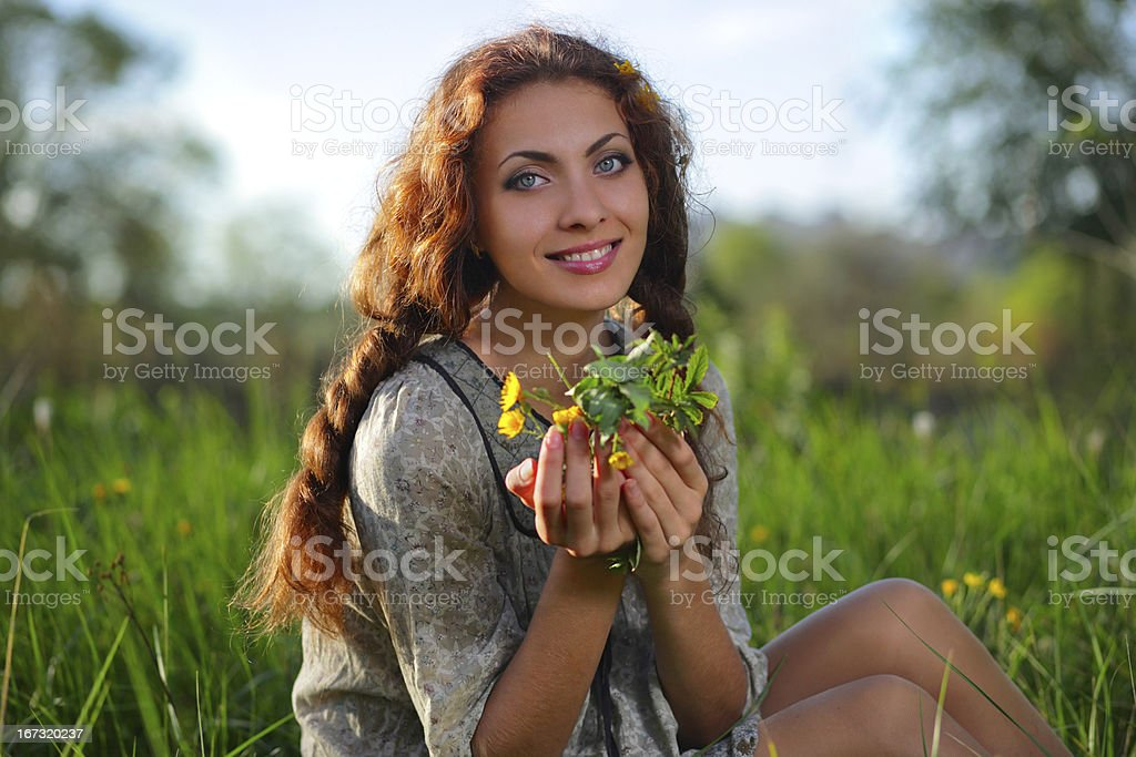 Beauty girl on the meadow royalty-free stock photo