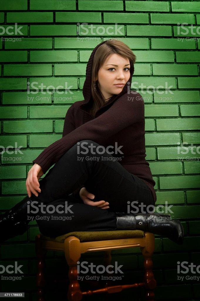 Beauty girl sitting stock photo