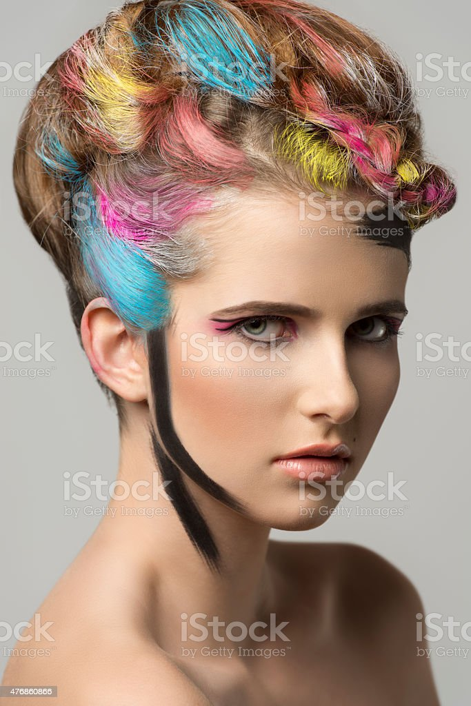 beauty girl with creative make-up stock photo