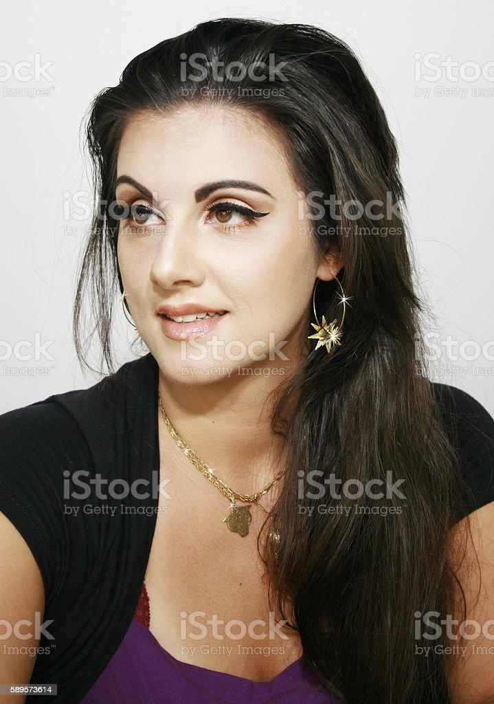 beauty girl with happy dream look stock photo