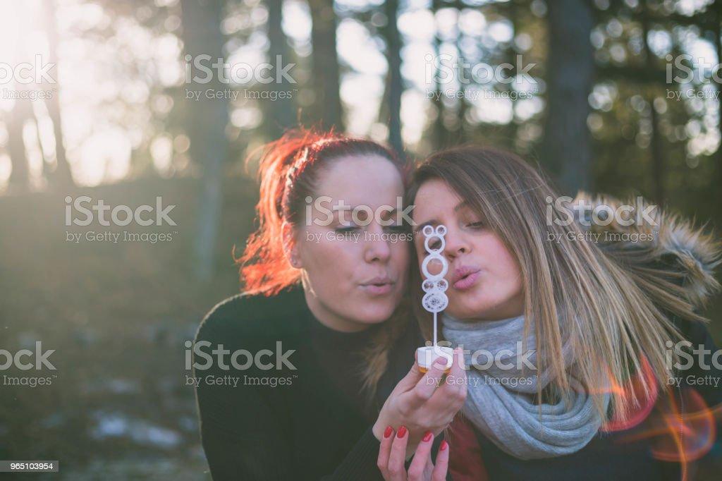 Beauty girls having fun outdoors. Beautiful joyful blowing soap bubbles in spring park. Girlfriends outdoor. Friendship zbiór zdjęć royalty-free