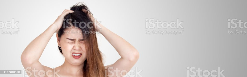 Beauty Hairstyle Concept From Asian Young Woman Unhappy