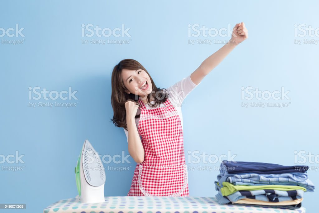 beauty  housewife feel excited stock photo