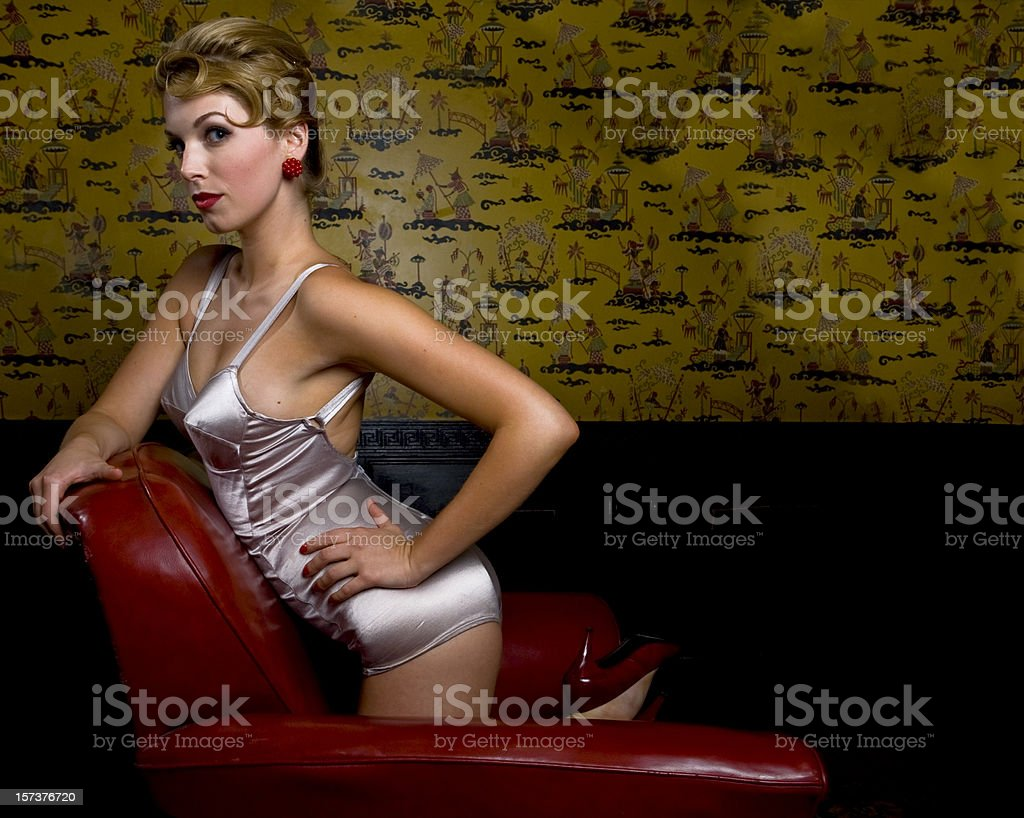 Beauty in a chair royalty-free stock photo