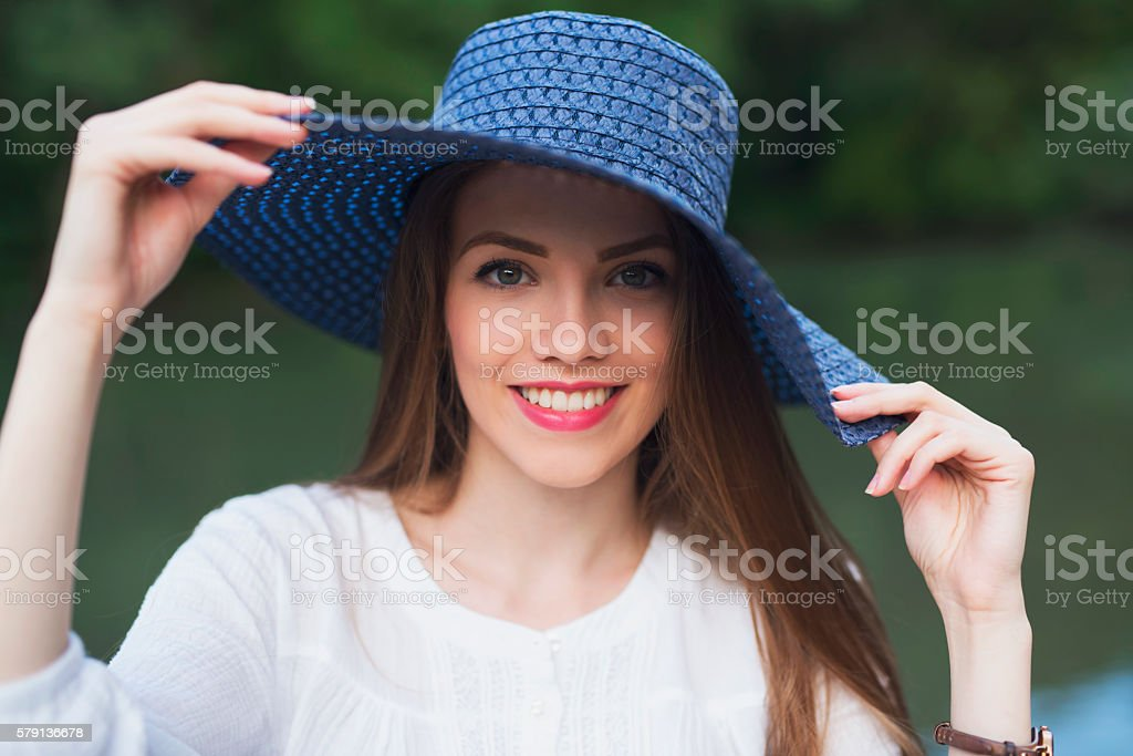 Beauty In A Hat stock photo