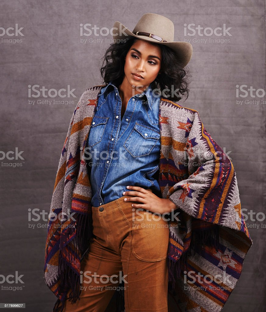 Beauty in a poncho stock photo