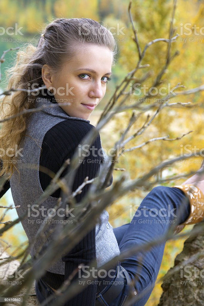 beauty in autumnal park royalty-free stock photo