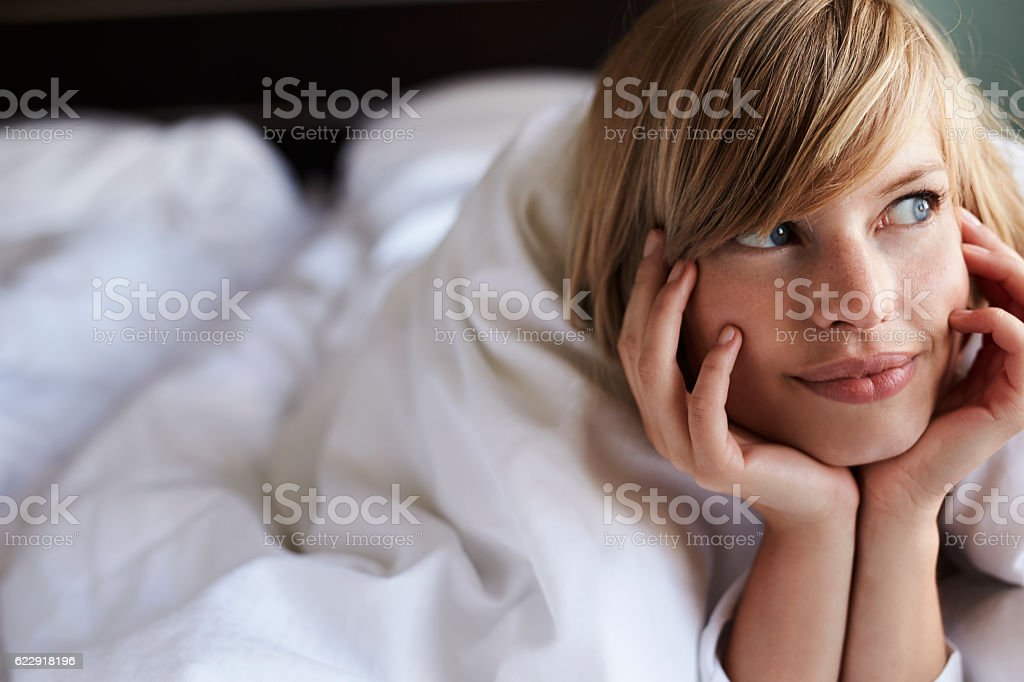 Beauty in bed stock photo