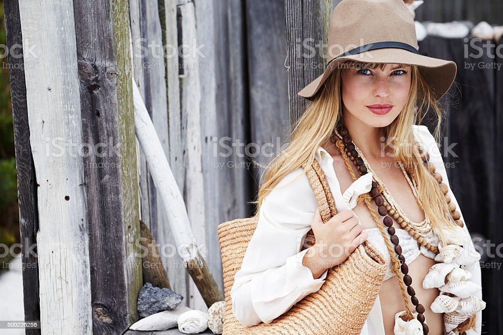Beauty in boho fashion stock photo