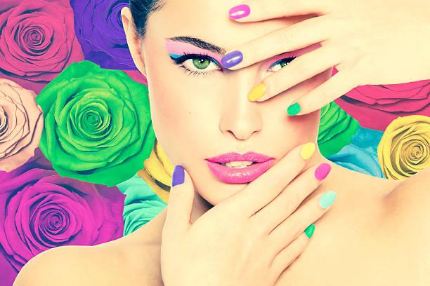 schönheit in farben - regenbogen make up stock-fotos und bilder
