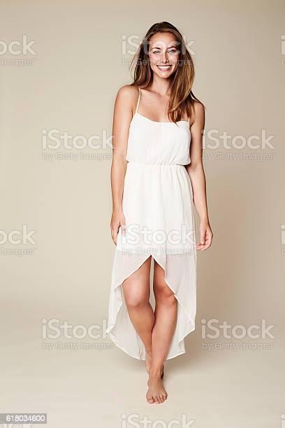 Beauty in white dress, portrait