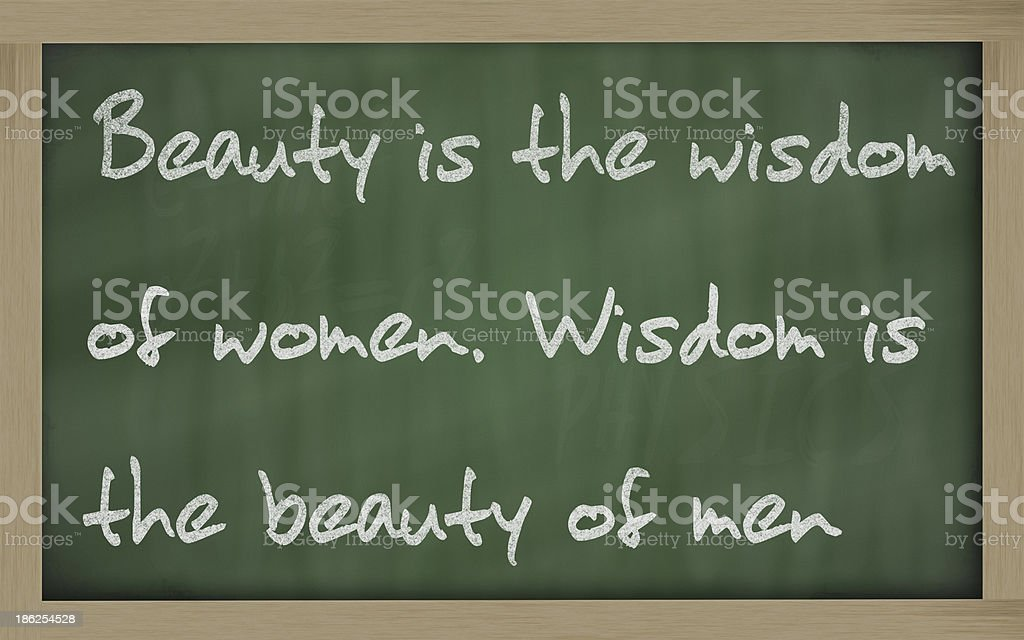 Beauty is the wisdom of women  men stock photo