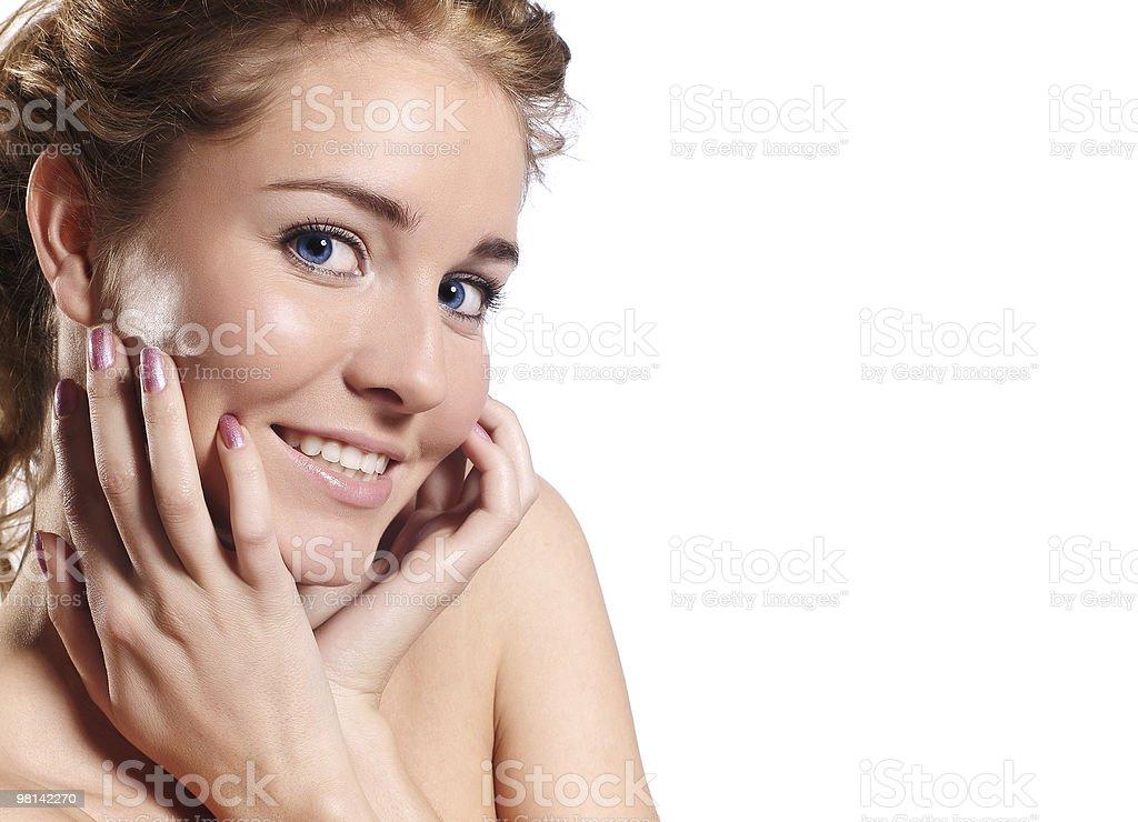 뷰티-격리됨에 세로는 아름다운 젊은 여자 royalty-free 스톡 사진