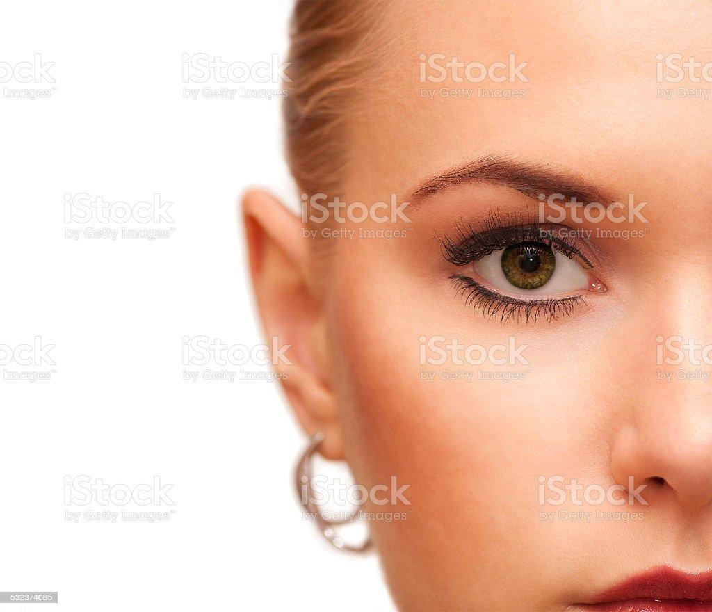 Beauty makeup. Part of face closeup. Perfect skin. stock photo