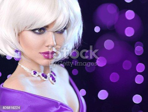 483075616 istock photo Beauty makeup Portrait Woman. Fashion Bob Blond Girl. White Short Hair. Gems jewelry pendant. Face Close up. Hairstyle. Fringe. Vogue Style. 826816224