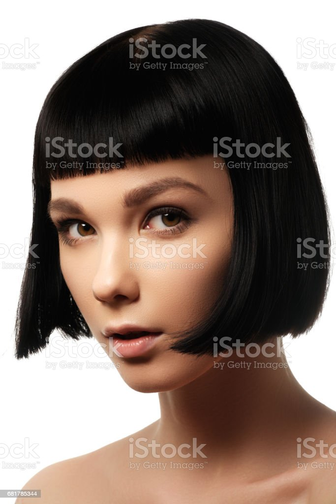 Beauty model with perfect glossy black hair. Close-up portrait. stock photo