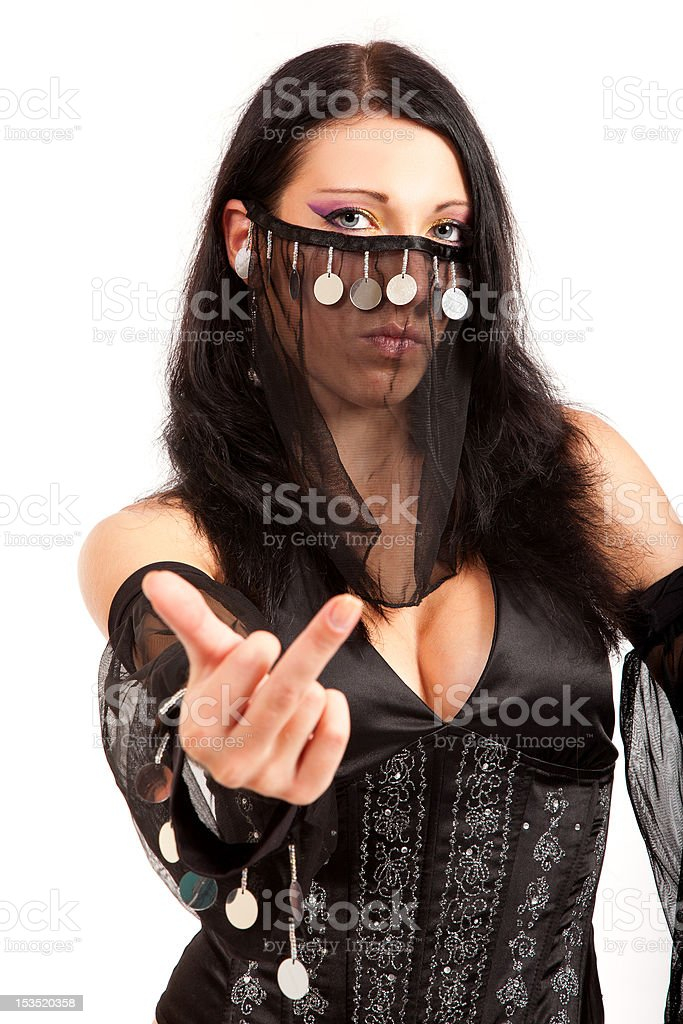 Beauty muslim woman is showing middle finger royalty-free stock photo