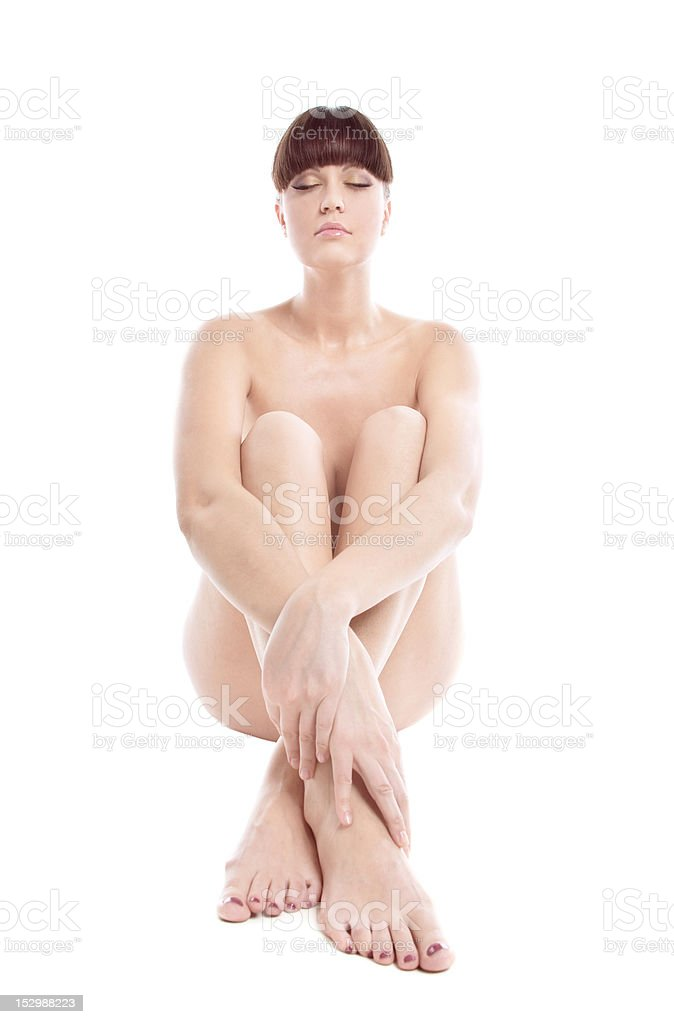 Beauty Niked Woman Sit On White Royalty Free Stock Photo