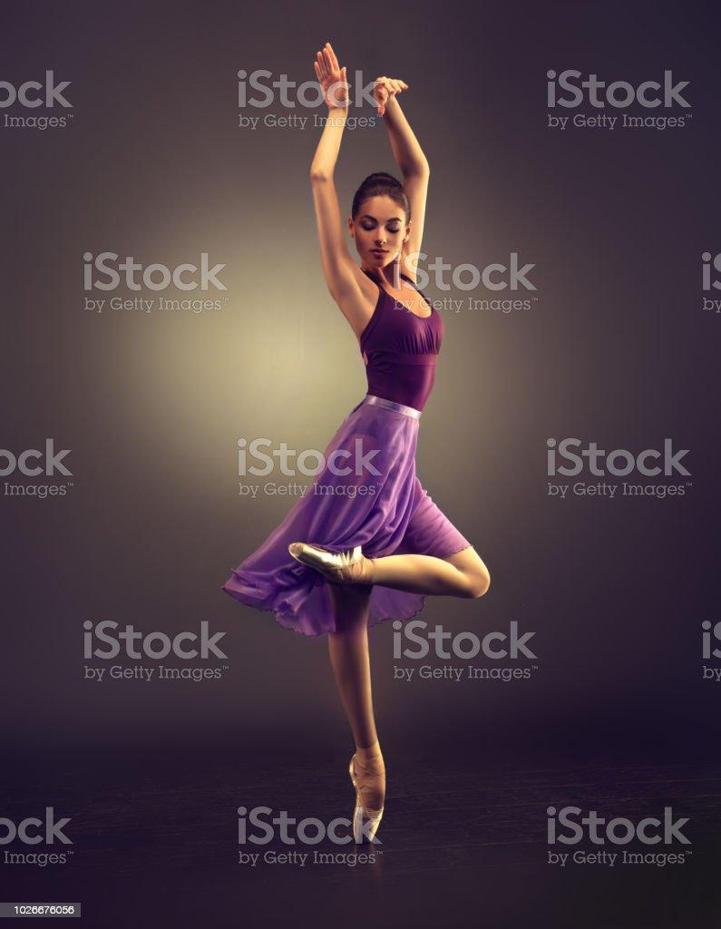 Klasik bale güzelliği. Balerin klasik dans gerçekleştiriyor. stok fotoğrafı