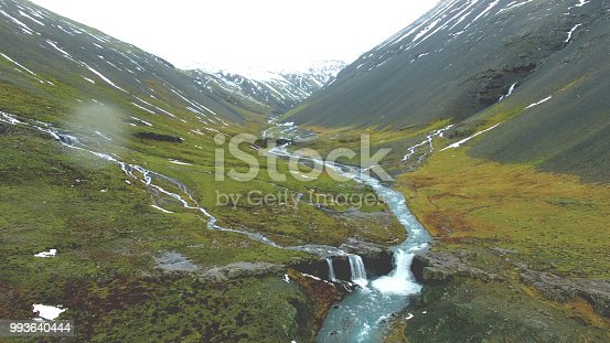 In front there is meadow surrounded by mountains. By it's left side, there is brook, and far in front there is small waterfall. Mountains are half covered by snow. Grass round brook is whole green. Iceland is perfect place for explorers and adventure people.
