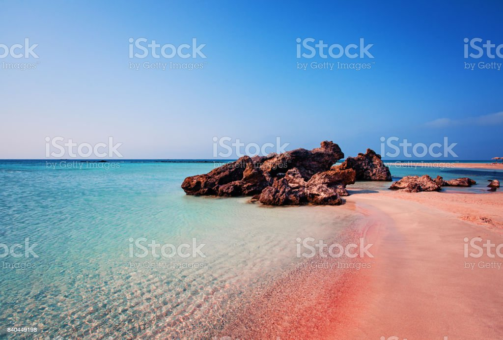 Beauty of Nature. Beautiful Elafonissi Beach with Pink Sand on Crete, Greece stock photo
