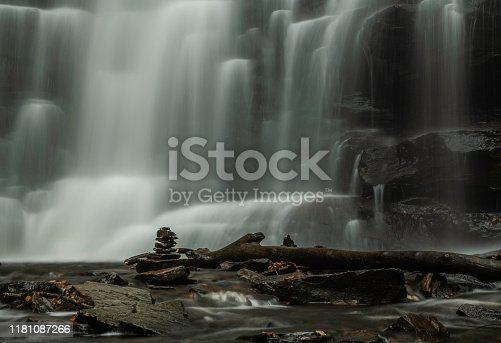 Beautiful close -up view of Ricketts Glen waterfall in Pennsylvania. Shot using slow shutter speed