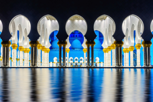 Beauty of Symmetry at the Sheikh Zayed Grand Mosque in Abu Dhabi, UAE.